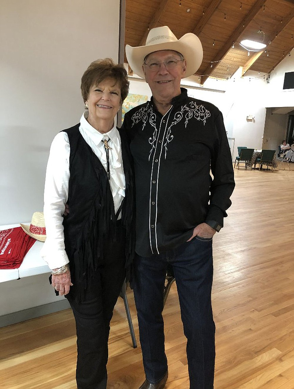 """Cissy and Bob Skarda have enjoyed each other's company throughout their 58-year marriage. They celebrated Cissy's birthday a few years back with a hoedown. Bob knew Cissy was the one for him right after they met in 1962. """"She was so comfortable. We felt very comfortable together,"""" he says. (Special to the Democrat-Gazette)"""