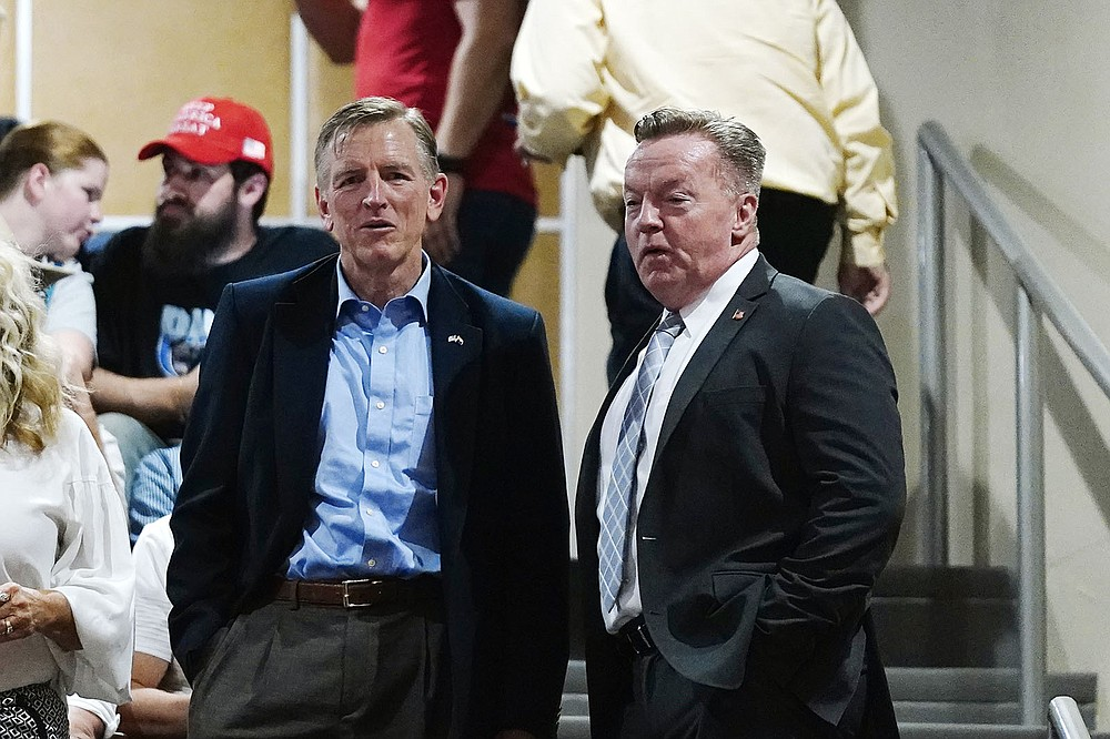 Rep. Paul Gosar (left), R-Ariz., waits Friday at the Arizona Capitol with former Arizona state Rep. Anthony Kern for the report on the Maricopa County vote audit. (AP/Ross D. Franklin)