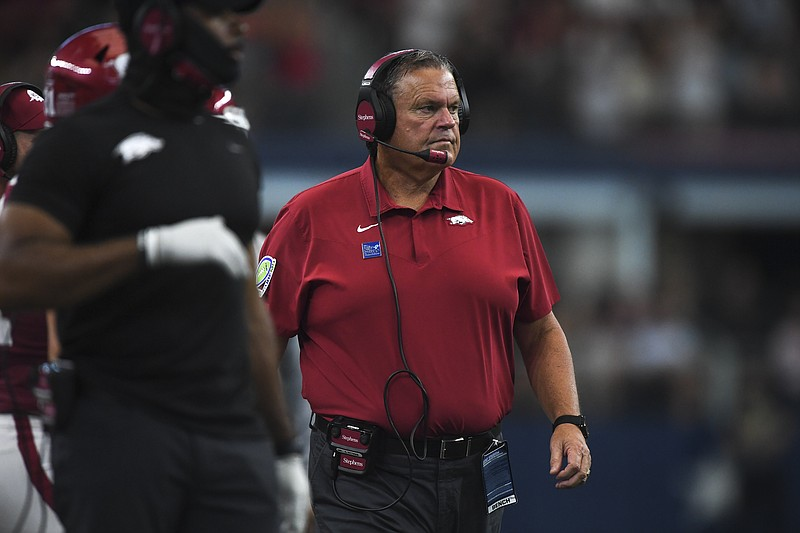 Arkansas head coach Sam Pittman looks on, Saturday, September 25, 2021 during the third quarter of a football game at AT&T Stadium in Arlington, Texas. Check out nwaonline.com/210926Daily/ for today's photo gallery. .(NWA Democrat-Gazette/Charlie Kaijo)