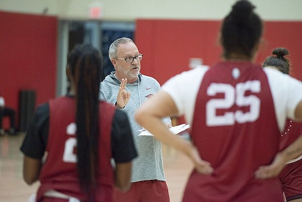 Arkansas coach Mike Neighbors speaks to players during practice Wednesday, Sept. 29, 2021, in Fayetteville.