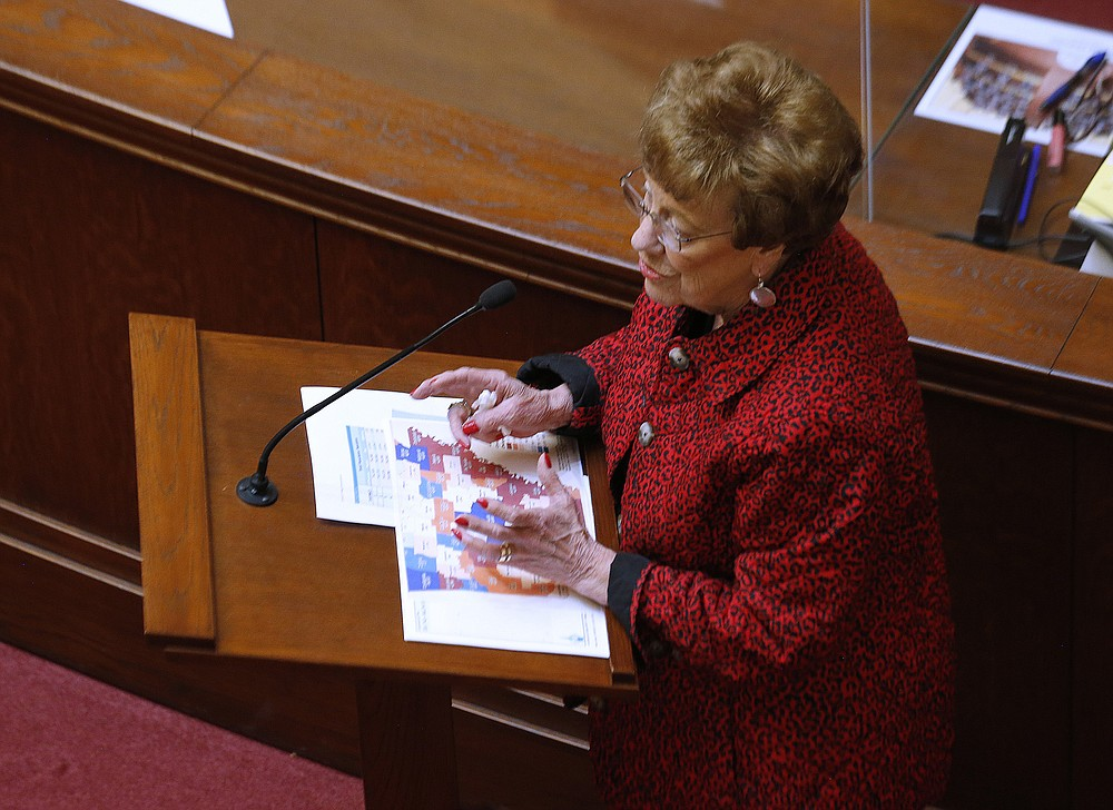 """""""These maps are basically simply done on population across the state, moving some people here because we didn't have enough folks over here,"""" Sen. Jane English said Wednesday in presenting her redistricting bill in the Senate. """"Sometimes we have too many people over here, so we have to change it to over here. All of the districts meet the deviation, every one of them is on target."""" (Arkansas Democrat-Gazette/Thomas Metthe)"""