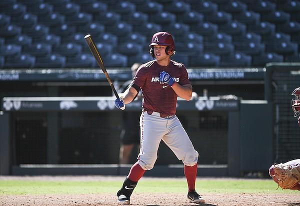 Arkansas catcher Michael Turner bats during a scrimmage Thursday, Sept. 23, 2021, in Fayetteville.