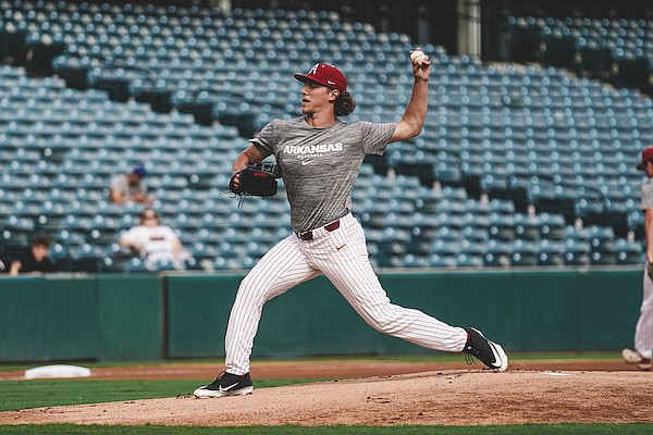 Arkansas pitcher Hagen Smith throws during a scrimmage Monday, Oct. 11, 2021, in Fayetteville.