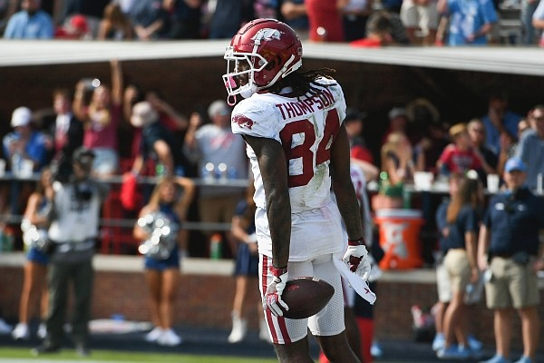 Arkansas receiver Warren Thompson reacts after making a catch against Ole Miss on Oct. 9, 2021 in Oxford, Miss.
