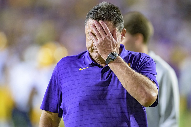 """LSU Coach Ed Orgeron said he realizes the Tigers' struggles this season have placed him on the hot seat. """"I understand the expectations of LSU,"""" he said. (AP/Matthew Hinton)"""