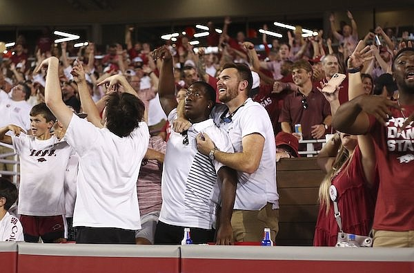 Arkansas fans are shown during a game against Texas on Saturday, Sept. 11, 2021, in Fayetteville.