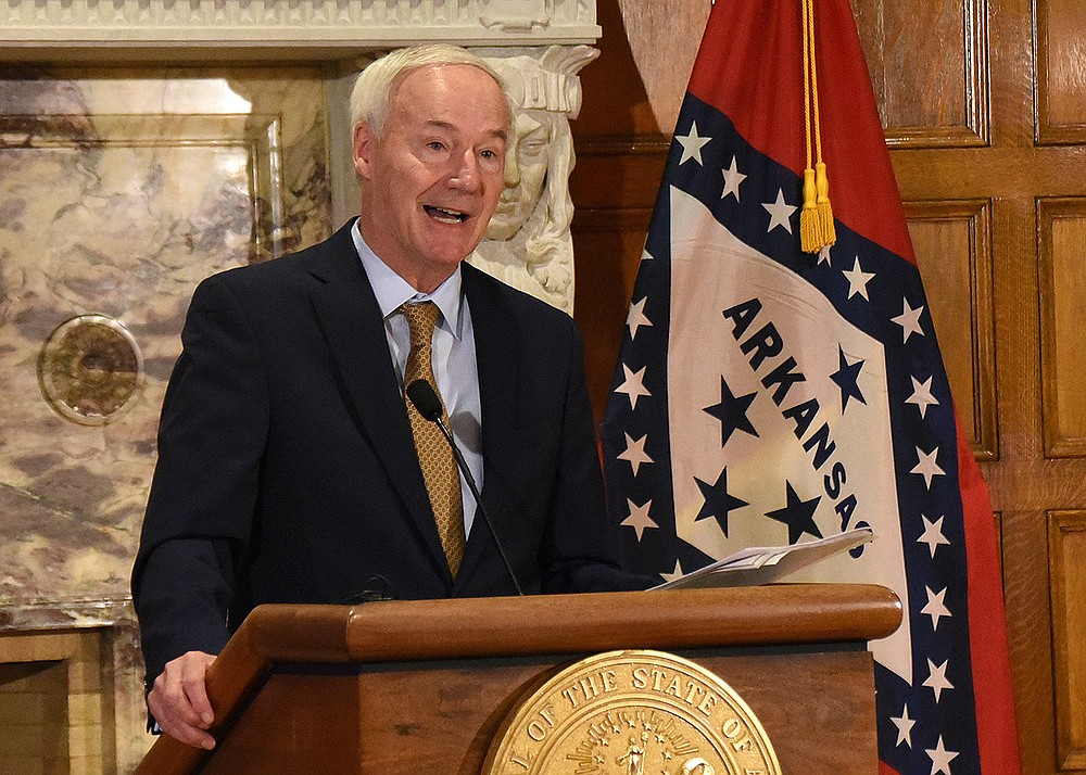 """Gov. Asa Hutchinson said Wednesday that he tentatively plans to call a special session on Oct. 20 to consider income tax cuts, but said it would be """"premature"""" to comment on the possible introduction of anti-abortion legislation modeled after what Texas recently enacted. (Arkansas Democrat-Gazette/Staci Vandagriff)"""