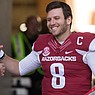 FILE —Austin Allen is shown during recognition of senior players before a game against Missouri Friday, Nov. 24, 2017, at Reynolds Razorback Stadium in Fayetteville.