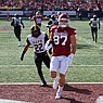 Arkansas tight end Blake Kern (87) scores a touchdown during a game against UAPB on Saturday, Oct. 23, 2021, in Little Rock.