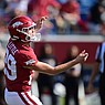 Arkansas kicker Cam Little tries a field goal during a game against UAPB on Saturday, Oct. 23, 2021, in Little Rock.