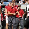 Arkansas coach Sam Pittman is shown during a game against UAPB on Saturday, Oct. 23, 2021, in Little Rock.