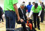 Gov. Mike Beebe met with LISA Academy students at a science fair after a ceremony marking the grand opening of their high school.