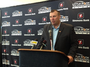 University of Arkansas football coach Bret Bielema spoke to reporters Tuesday before his speech to the Little Rock Touchdown Club.