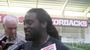 Former Arkansas running back Alex Collins talks to the media after the Razorbacks' annual Pro Day.