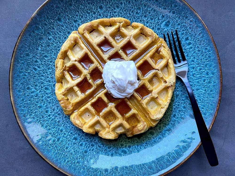Pumpkin Waffles With Maple Mascarpone (Arkansas Democrat-Gazette/Kelly Brant)
