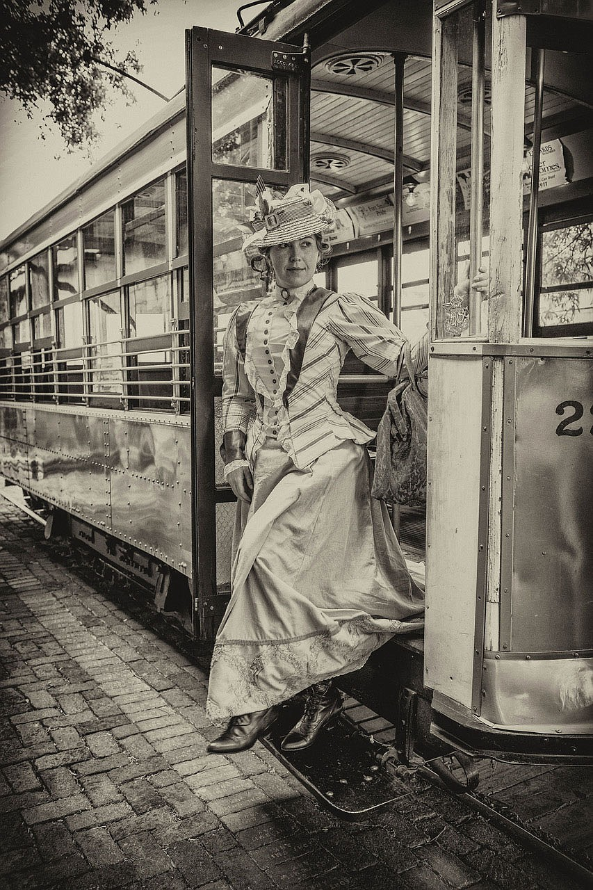 Portrayed by Jennica Schwartzman, 19th century reporter Ada Patterson steps off the Fort Smith trolley in Larry Foley's new film. (Courtesy Photo/James Brewer)