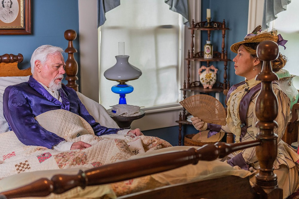 "Bill Rogers portrays Isaac C. Parker, the 19th century Fort Smith jurist known as the ""hanging judge,"" and Jennica Schwartzman is Ada Patterson, a reporter for the St. Louis Republic who came to interview him on his deathbed, in Larry Foley's new film, ""Indians, Outlaws, Marshals and the Hangin' Judge."" (Courtesy Photo/James Brewer)"