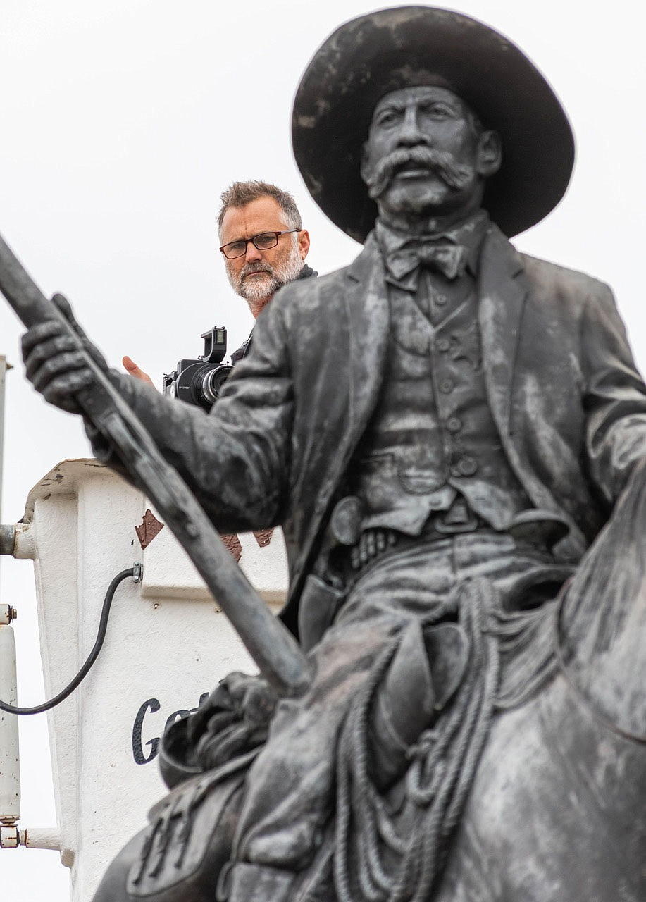 "Foley says he ""dispatched a film crew to shoot the dedication of the Bass Reeves statue in Fort Smith in 2012, hoping to someday include those scenes in what turned out to be this film. I include clips from a 1986 piece I did for AETN. I've been joking that I've been at this for so long, I'm now serving as my own archive!"" (Courtesy Photo/James Brewer)"
