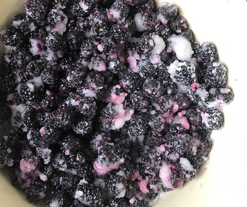 Fresh blackberries macerate in lemon juice and sugar before being cooked into jam without added pectin (Arkansas Democrat-Gazette/Kelly Brant)