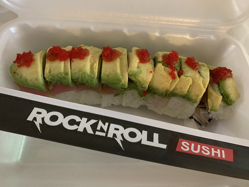 """The Slash Roll is one of dozens of rock-themed """"Headliner"""" offerings at the newly opened Rock N Roll Sushi on Chenal Parkway in west Little Rock. (Arkansas Democrat-Gazette/Eric E. Harrison)"""
