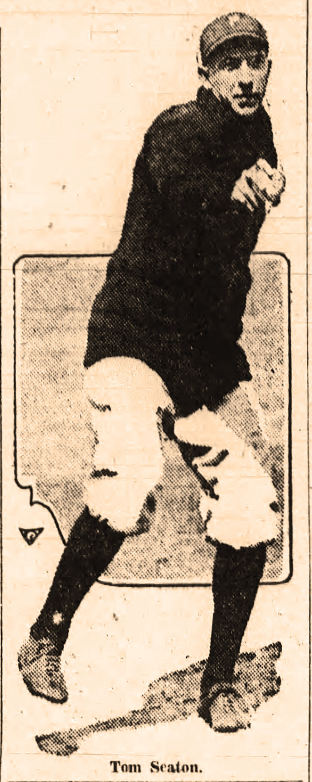 Tom Seaton from the May 27, 1920, Arkansas Democrat, reporting that the San Francisco pitcher had been hired by the Little Rock Travelers. (Arkansas Democrat-Gazette)