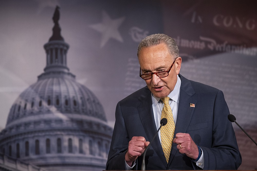 Senate Majority Leader Chuck Schumer of N.Y., speaks during a news conference on Capitol Hill, Tuesday, June 16, 2020, in Washington. (AP Photo/Manuel Balce Ceneta)