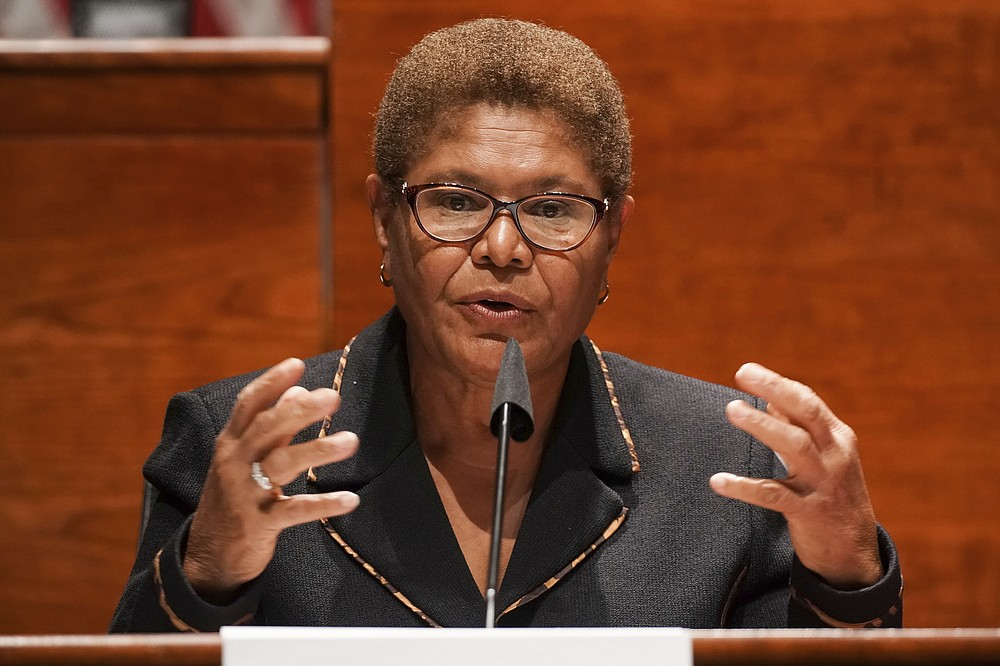 Rep. Karen Bass, D-Calif., speaks during a House Judiciary Committee markup of the Justice in Policing Act of 2020 on Capitol Hill in Washington, Wednesday, June 17, 2020. (Greg Nash/Pool via AP)