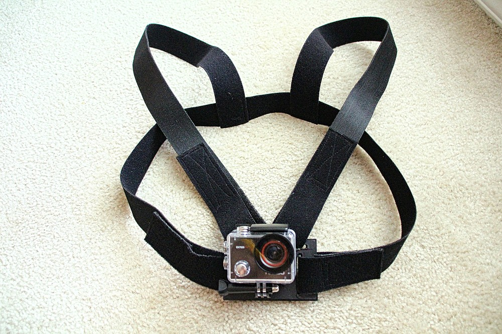 Bob Robinson wore this homemade harness and the AKASO EK7000 Sports Camera attached to it to shoot his award-winning movie. (Special to the Democrat-Gazette/Nancy Raney)