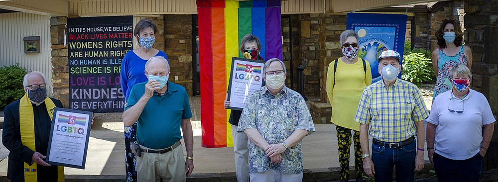 Unitarian Universalist Village Church celebrates its recognition as a Welcoming Congregation with a yearlong Year of Pride, presenting monthly programs starting on Saturday, June 27, at 10 a.m. In accordance with the observance of safe-distancing practices, this will be an outdoor program with a rain date to be provided. This designation is determined by the Unitarian Universalist Association and honors the ways in which a UU congregation welcomes and celebrates the presence and participation of people who identify with the LGBTQ community Back, from left, are Janet Holt, Myra Rustin, Mary Ann Rittenmeyer and Kim Townsan, and front, from left, are the Rev. Mark Walz, David Welch, John Swinburn, Warren Searls and Susan Berkley. - Submitted photo