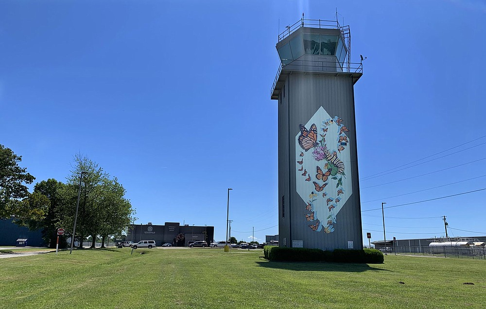 "Monarch butterflies adorn the air traffic control tower Saturday, June 13, 2020, at the Springdale Municipal Airport. The work titled ""Kaleidoscope"" was created by Jane Kim in 2017. Visit nwaonline.com/200614Daily/ for today's photo gallery. (NWA Democrat-Gazette/Andy Shupe)"