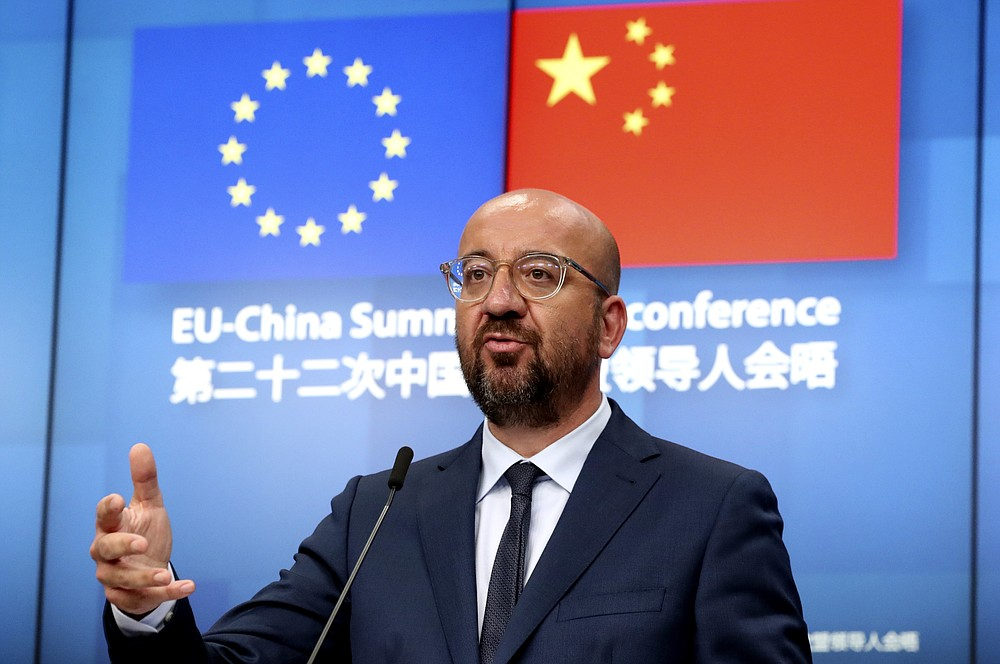 European Council President Charles Michel speaks during a media conference at the conclusion of an EU-China summit, in video conference format, at the European Council in Brussels, Monday, June 22, 2020. Top European Union officials held talks Monday with Chinese President Xi Jinping and Premier Li Keqiang at a time of rising tensions between two major trading partners over the fallout from the coronavirus crisis and Beijing's increasing control over Hong Kong. (Yves Herman, Pool Photo via AP)
