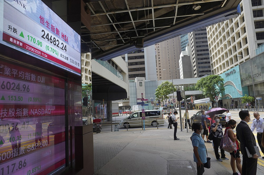 People wearing face mask walk past a bank's electronic board showing the Hong Kong share index at Hong Kong Stock Exchange Tuesday, June 23, 2020. Asian shares were mostly higher on Tuesday, tracking a late rally on Wall Street led by technology shares. (AP Photo/Vincent Yu)
