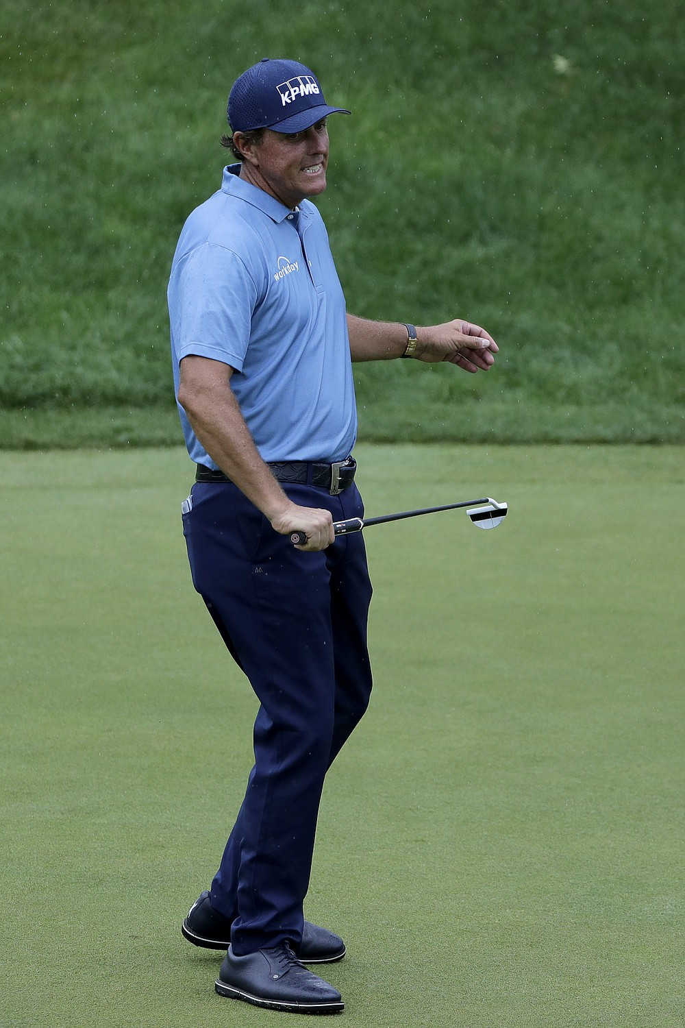 Phil Mickelson reacts after missing a putt on the 18th green during the third round of the Travelers Championship golf tournament at TPC River Highlands, Saturday, June 27, 2020, in Cromwell, Conn. (AP Photo/Frank Franklin II)