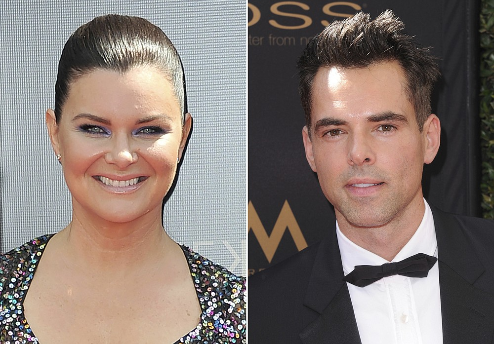 """This combination photo shows Heather Tom at the 46th annual Daytime Emmy Awards in Pasadena, Calif. on May 5, 2019, left, and Jason Thompson at the 43rd annual Daytime Emmy Awards in Los Angeles on May 1, 2016. Tom won an Emmys for outstanding lead actress in a drama series for her role in """"The Bold and the Beautiful,"""" and Thompson won an Emmy for outstanding lead actor in a drama series for his role in """"The Young and the Restless,"""" at the  47th annual Daytime Emmy Awards. (AP Photo)"""