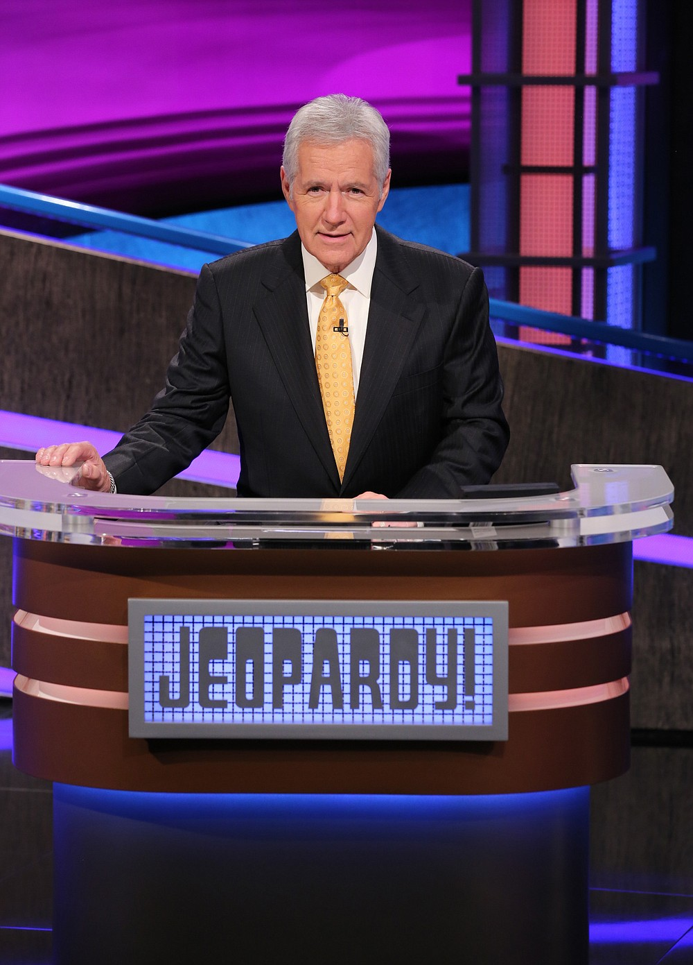 """This image released by Jeopardy! shows Alex Trebek, host of the game show """"Jeopardy!"""" The program won outstanding game show at the 47th annual Daytime Emmy Awards. Trebek also won outstanding game show host. (Jeopardy! via AP)"""