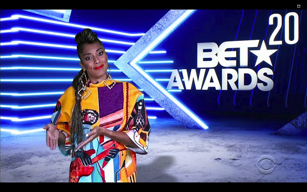 In this video grab issued Sunday, June 28, 2020, by BET, host Amanda Seales speaks during the BET Awards. (BET via AP)