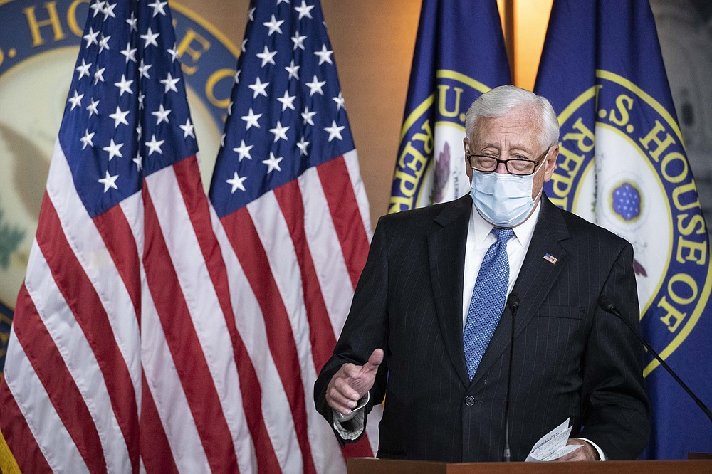 House Majority Leader Steny Hoyer of Md., speaks during a news conference on Capitol Hill, after a meeting at the White House, Tuesday, June 30, 2020 in Washington. (AP Photo/Alex Brandon)
