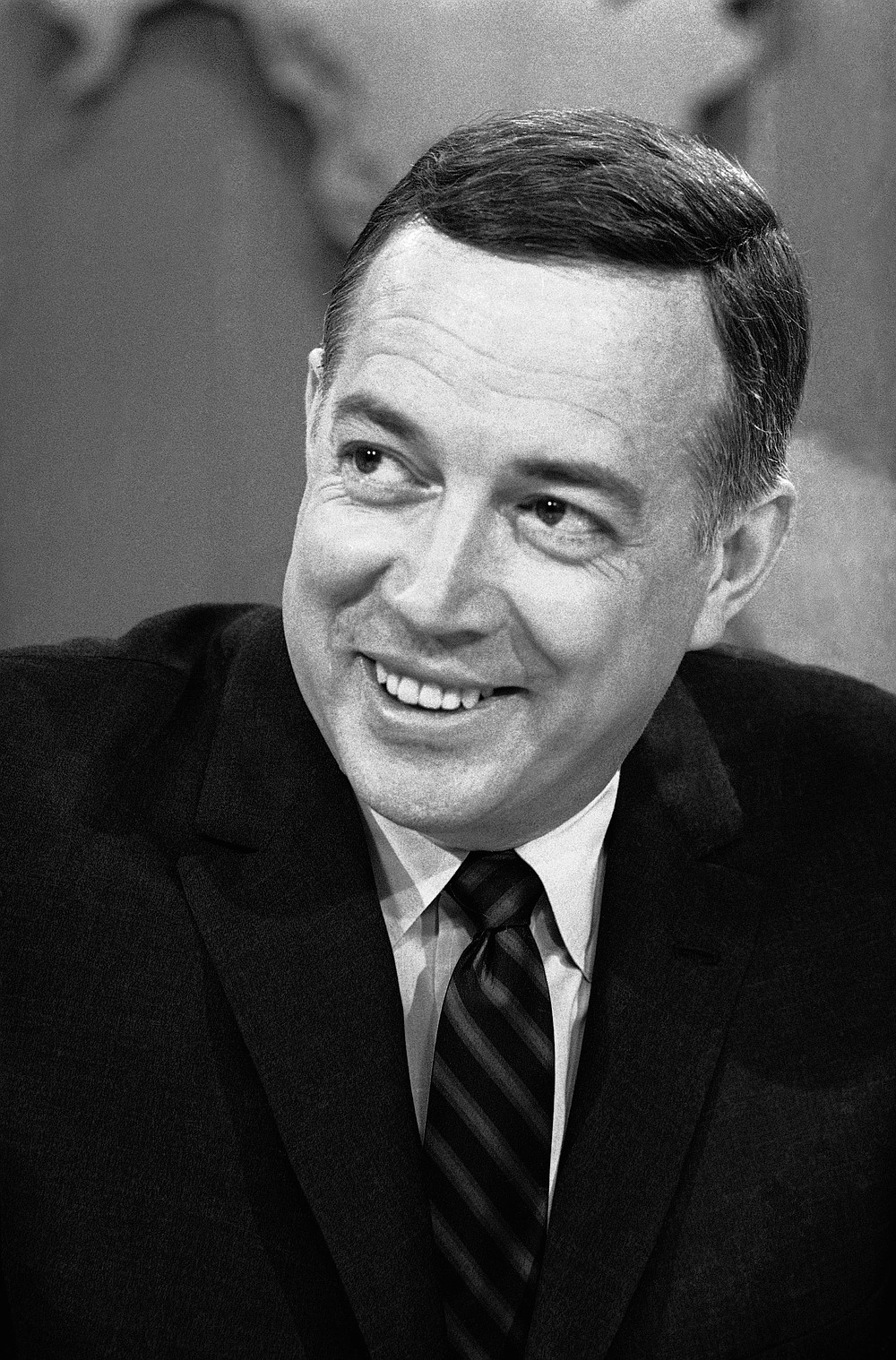 """FILE - In this March 10, 1966 file photo, Hugh Downs hosts the """"Today""""show on NBC.  Downs, a genial and near-constant presence on television from the 1950s through the 1990s, has died. His family said Downs died of natural causes Wednesday, July 1, 2020, in Scottsdale, Ariz. He was 99. Downs was a host of the """"Today"""" show on NBC, worked on the """"Tonight"""" show when Jack Paar was in charge, and hosted the long-running game show """"Concentration."""" (AP Photo/Jack Kanthal, File)"""