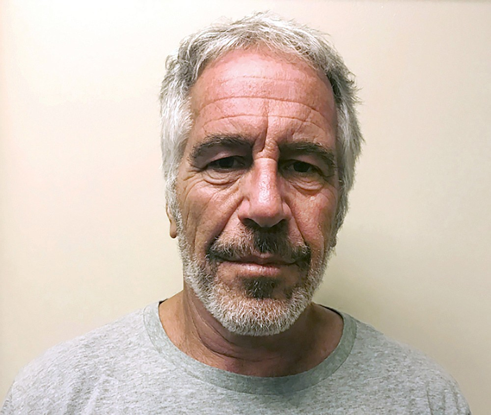 FILE - This March 28, 2017, file photo, provided by the New York State Sex Offender Registry, shows Jeffrey Epstein. British socialite Ghislaine Maxwell was arrested by the FBI on Thursday, July 2, 2020, on charges she helped procure underage sex partners for the financier.  (New York State Sex Offender Registry via AP, File)