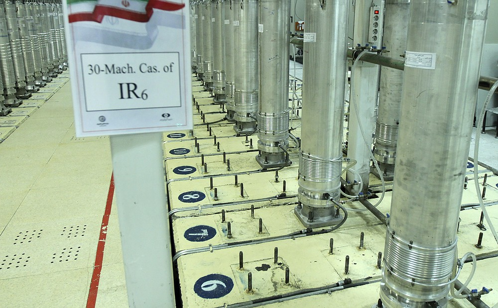 "This photo released Nov. 5, 2019, by the Atomic Energy Organization of Iran, shows centrifuge machines in the Natanz uranium enrichment facility in central Iran. Behrouz Kamalvandi, a spokesman in a report published Thursday, July 2, 2020 by the state-run IRNA news agency, said an ""incident"" has damaged an under-construction building near Iran's Natanz nuclear site, but there was no damage to its centrifuge facility. Kamalvandi said authorities were investigating what happened.   (Atomic Energy Organization of Iran via AP, File)"