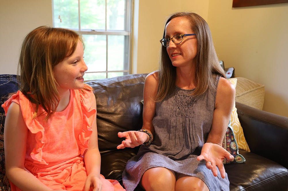 """Charlotte Boch, 10, and her mother, Caroline Boch. for """"Fear"""" story (Special to the Democrat-Gazette/Dwain Hebda)"""