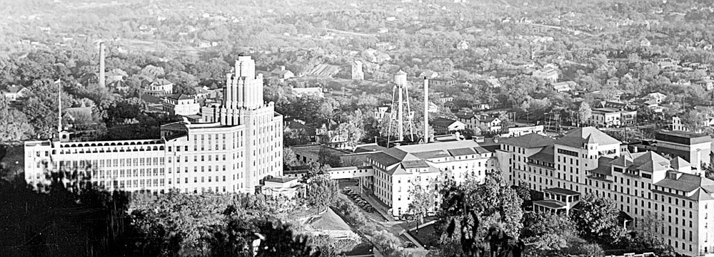 A panoramic view taken in the mid-1940s shows the Army and Navy General Hospital's main building, left, joined by an overpass or skywalk to the Eastman Annex, right. The Army bought the 520-room Eastman Hotel in 1942 to provide for the increased numbers of patients arriving at the hospital during World War II. Photo is courtesy of the Garland County Historical Society. - Submitted photo