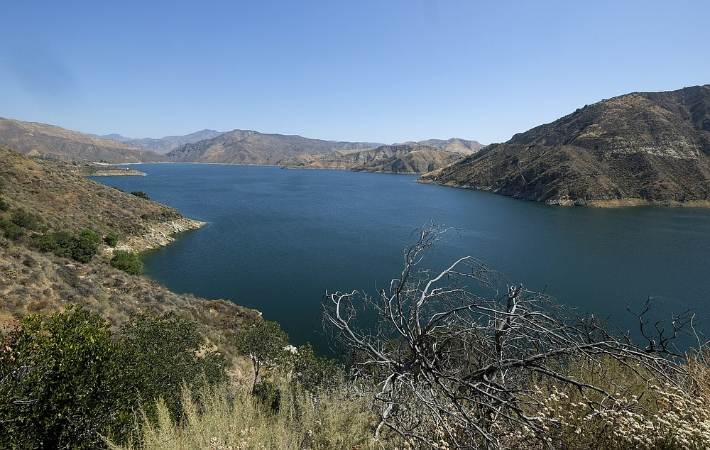 """This Thursday, July 9, 2020 photo shows a view of Lake Peru in California. Authorities say former """"Glee"""" star Naya Rivera is missing and being searched for at the lake which is approximately 55 miles northwest of downtown Los Angeles. (AP Photo/Ringo H.W. Chiu)"""