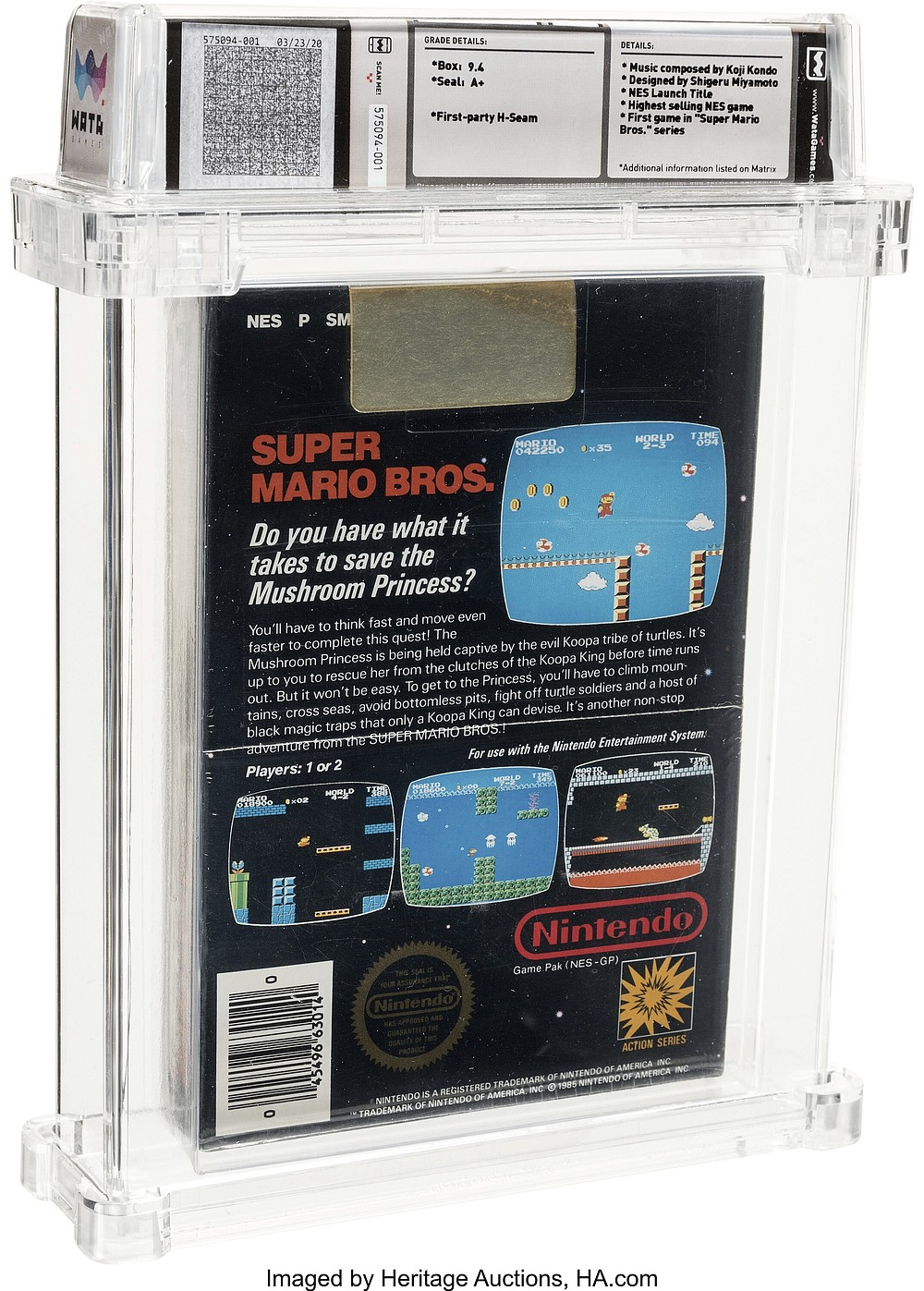 This photo provided by Heritage Auctions on Saturday, July 11, 2020, shows the back of an unopened copy of a vintage Super Mario Bros. video game that has been sold for $114,000 in an auction that underscored the enduring popularity of entertainment created decades earlier. (Emily Clemens/Heritage Auctions via AP)