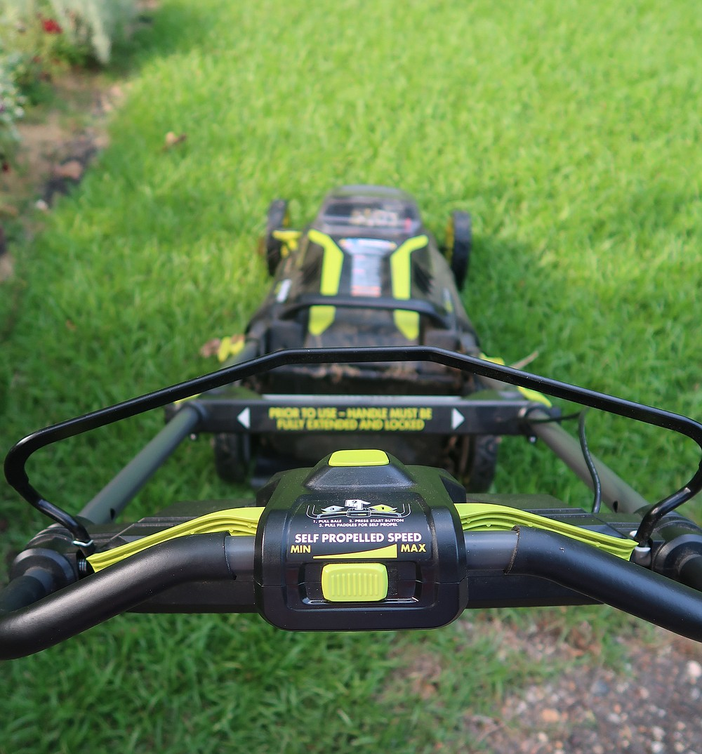 Self-propulsion adds expense to an electric mower but can make mowing a hilly yard much easier. (Special to the Democrat-Gazette/Janet B. Carson)