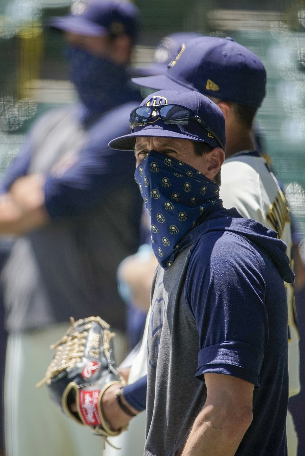 Milwaukee Brewers manager Craig Counsell watches batters during a practice session Monday, July 13, 2020, at Miller Park in Milwaukee. (AP Photo/Morry Gash)