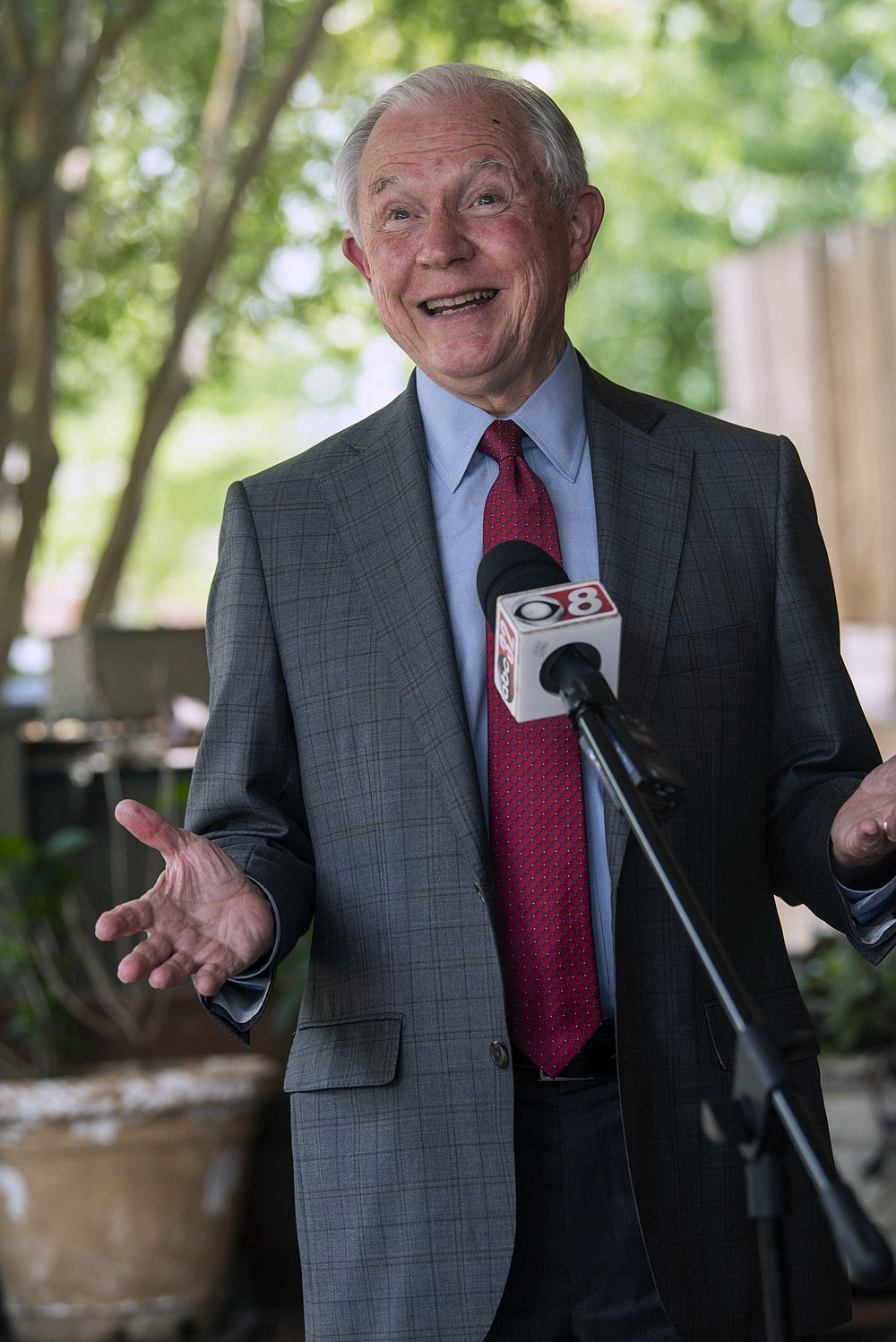 U.S. Senate candidate Jeff Sessions speaks during a press conference at Gail's Down the Street Cafe in Montgomery, Ala., on Friday, July 10, 2020. Seeking a political comeback, Jeff Sessions is trying to beat out former college football coach Tommy Tuberville in Tuesday's Republican primary runoff. But to reclaim the Alabama Senate seat he held for decades, Sessions also has to go through President Donald Trump. (Jake Crandall/The Montgomery Advertiser via AP)