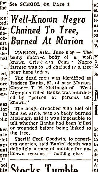 A newspaper clipping from the Arkansas Democrat on June 9, 1954, shows The Associated Press article about the lynching of Isadore Banks.  (Arkansas Democrat-Gazette)