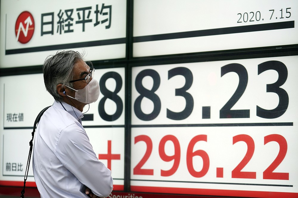A man looks at an electronic stock board showing Japan's Nikkei 225 index at a securities firm in Tokyo Wednesday, July 15, 2020. Shares were mostly higher in Asia on Wednesday as investors were encouraged by news that an experimental COVID-19 vaccine under development by Moderna and the U.S. National Institutes of Health revved up people's immune systems just as desired. (AP Photo/Eugene Hoshiko)