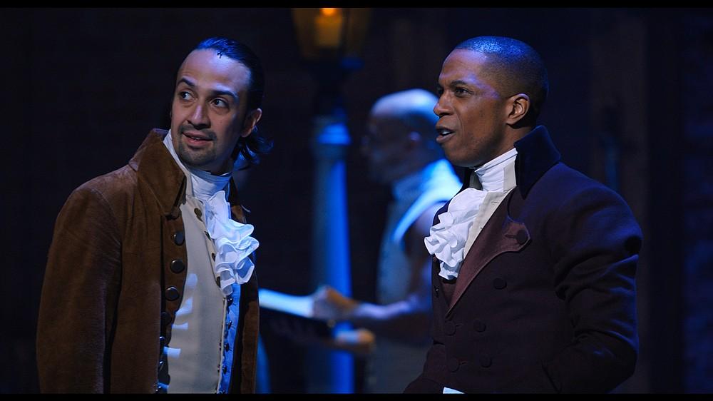 "Lin-Manuel Miranda (left) is Alexander Hamilton and Leslie Odom, Jr. is Aaron Burr in ""Hamilton,"" the filmed version of the original Broadway production."